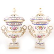 Pair of Continental porcelain campagna shape urns