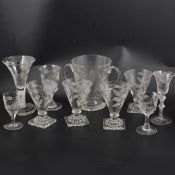 A small collection of Jacobean inspired table glassware, 20th century.
