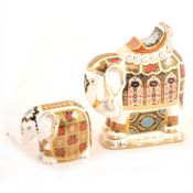 Two Royal Crown Derby Imari elephant paperweights.