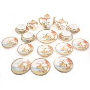 A Japanese egg-shell type porcelain teaset.