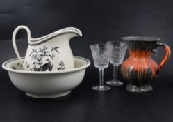A Wedgwood earthenware jug and bowl, plus other ceramics and glass.