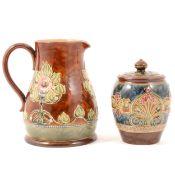 Royal Doulton stoneware jug and tobacco jar.