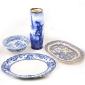 A small collection of blue and white china.