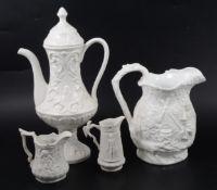 A Samuel Alcock & Co white stoneware jug, plus other white pottery items.