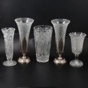 Victorian press moulded milk glass goblets, plus other glassware.