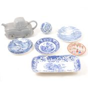 Five Japanese ceramic lids, and other decorative plates and ceramics.