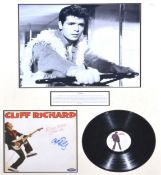 Two framed signatures; Cliff Richard and Larry Hagman