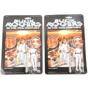 Buck Rogers and Wilma Deering Mego Corp figures, in blister-packs.