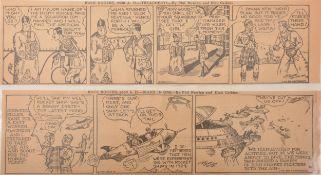 A folder of John Dille co Buck Rogers Daily newspaper comic strips 1929-1930