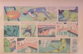 Three folders of Buck Rogers newspaper comic pages by George Tuska 1959 to 1965