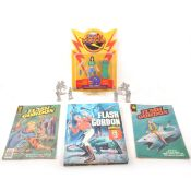 Flash Gordon interest, a selection of publications and books, figures and comics.