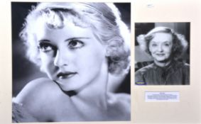 Bette Davis, signed photo, 24 x 18cm, mounted and framed