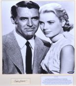 Cary Grant, signed letter cutting, framed and mounted with photo with Grace Kelly