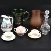 An 18th century cordial glass and other decorative ceramics and glassware.