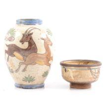 Iznik pottery glazed vase with Antelope and bowl.