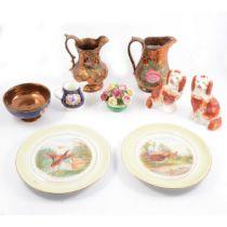 Quantity of decorative ceramics including lustreware Jugs.
