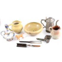 Pewter, ceramics, brassware, Beswick dog, antique iron curling tongs and crimpers.