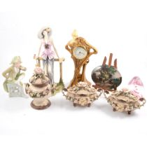 Pair of small Dresden porcelain figurines, Capodimonte and other decorative items.