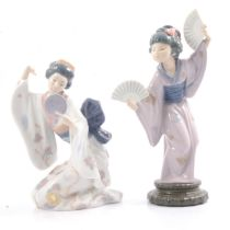 Lladro figures 'Madame Butterfly' and 'Mirror Mirror'.