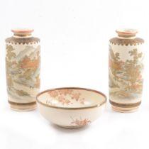 Pair of Japanese Satsuma vases and a small bowl.