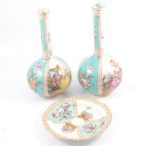 Pair of Dresden bottle vases and similar plate.