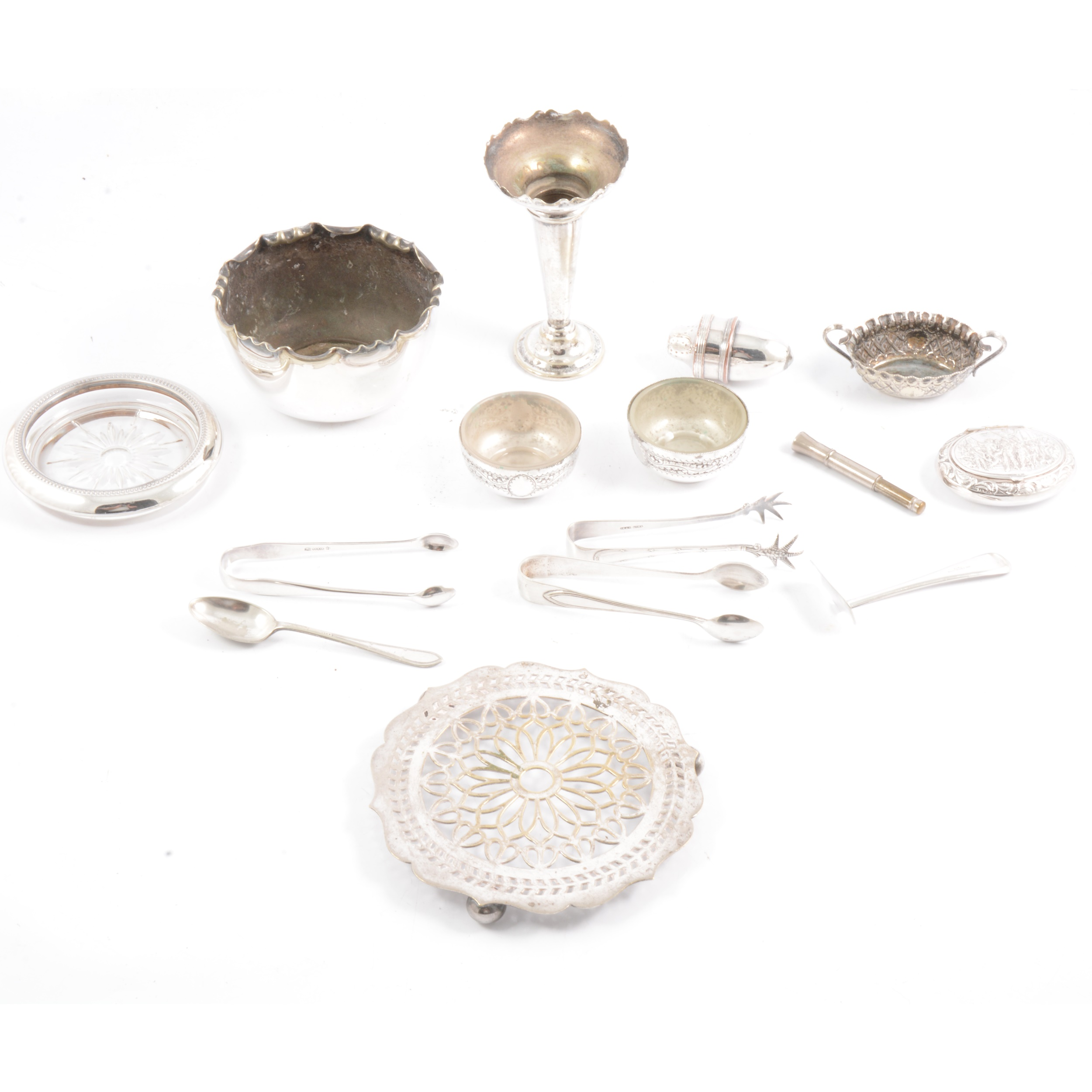 Silver-plated spill vase, salts, trivet and other plated wares.