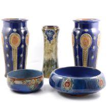 Royal Doulton and Doulton Lambeth vases and bowls.
