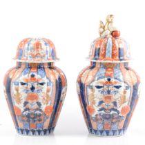 Pair of Imari covered vases.
