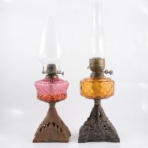 Two Victorian oil lamps