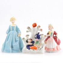Royal Worcester figure, Royal Doulton figure, and a spill vase