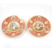 A pair of Vienna porcelain plates