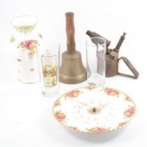Champagne flutes and coupes, Royal Albert 'Old Country Roses' and other ceramics and metalwares.