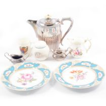 Nymphenburg comport and plates, royal commemorative mugs, and silver-plated wares.