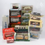 Modern die-cast models and vehicles, including 1:18 scale Road Signature 1962 Volkswagen Microbus