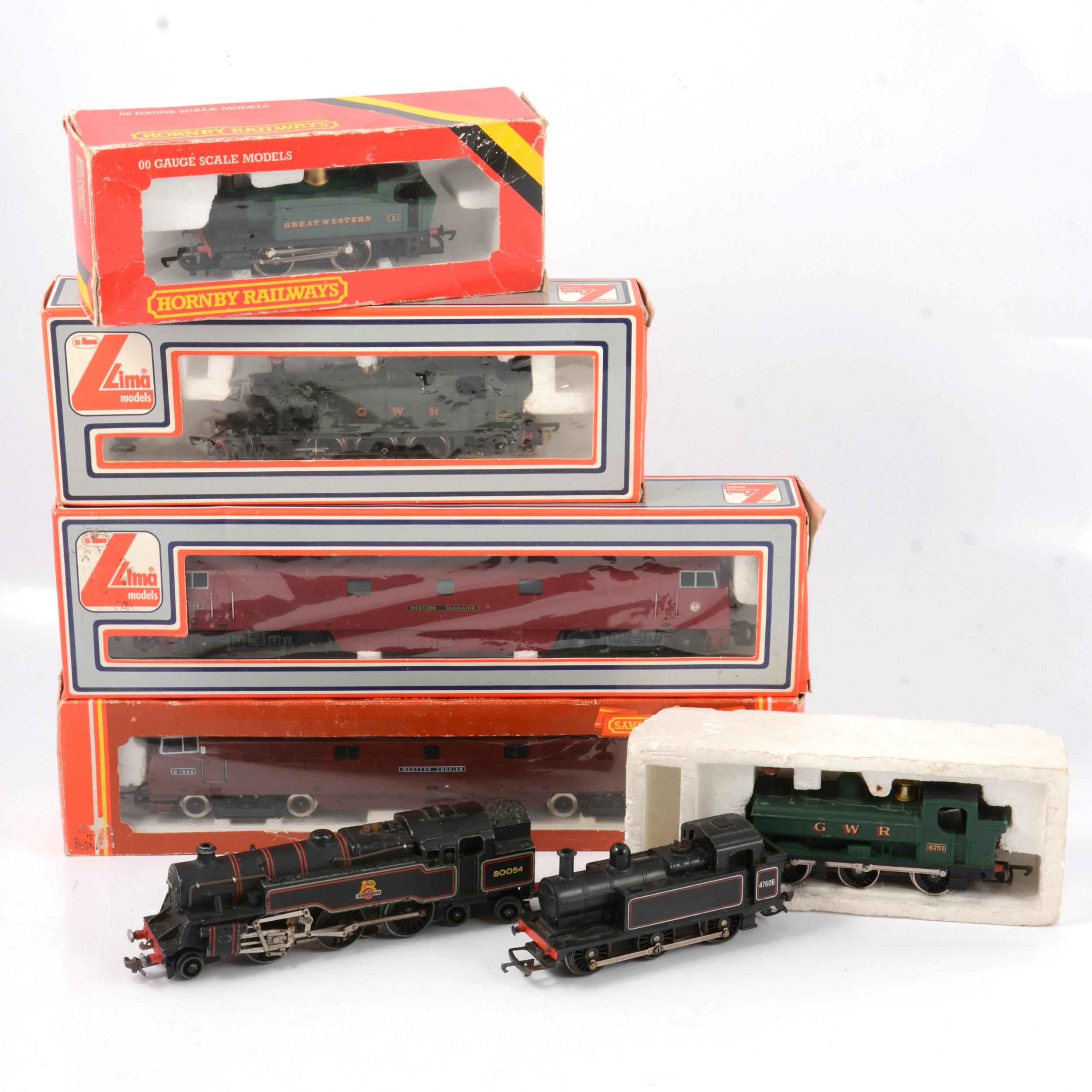 Hornby and Lima OO gauge model railway locomotives; seven including EDL18 BR 4MT