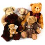 Six artist teddy bears, various makers including Grisly Spielwaren mohair bear