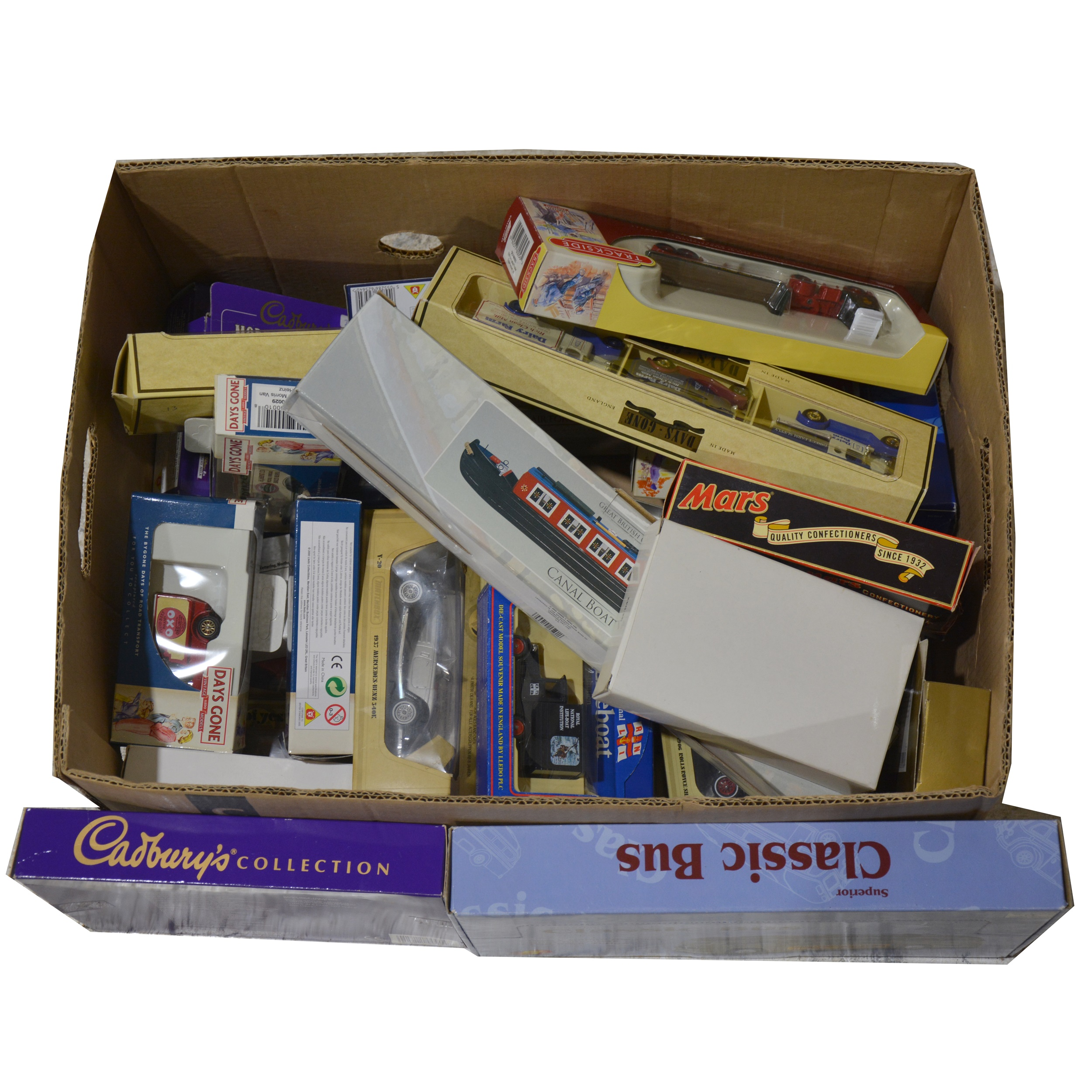 One box full of modern die-cast vans and vehicles, mostly Lledo and Matchbox