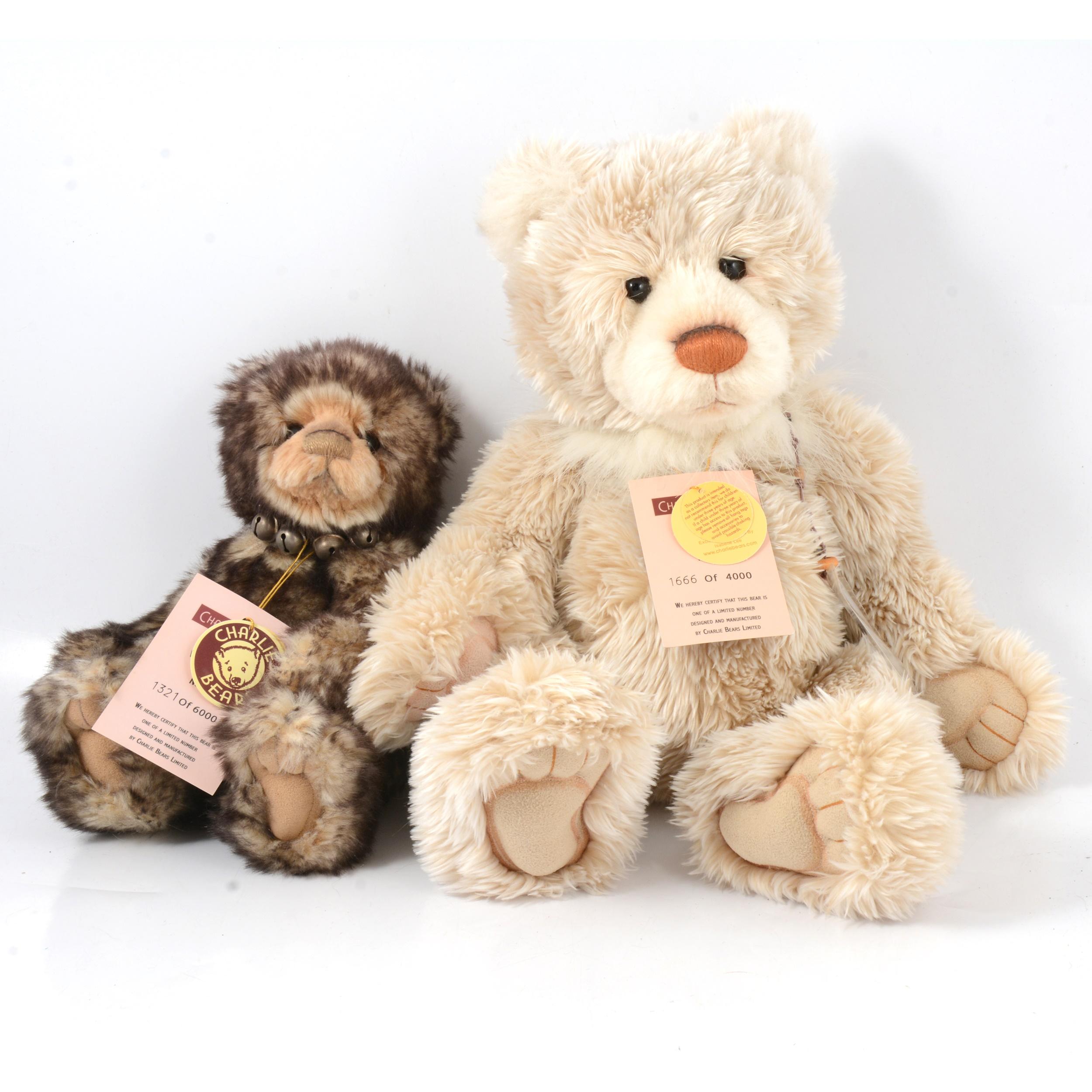 Two Charlie Teddy Bears, Wurve You and Porridge.