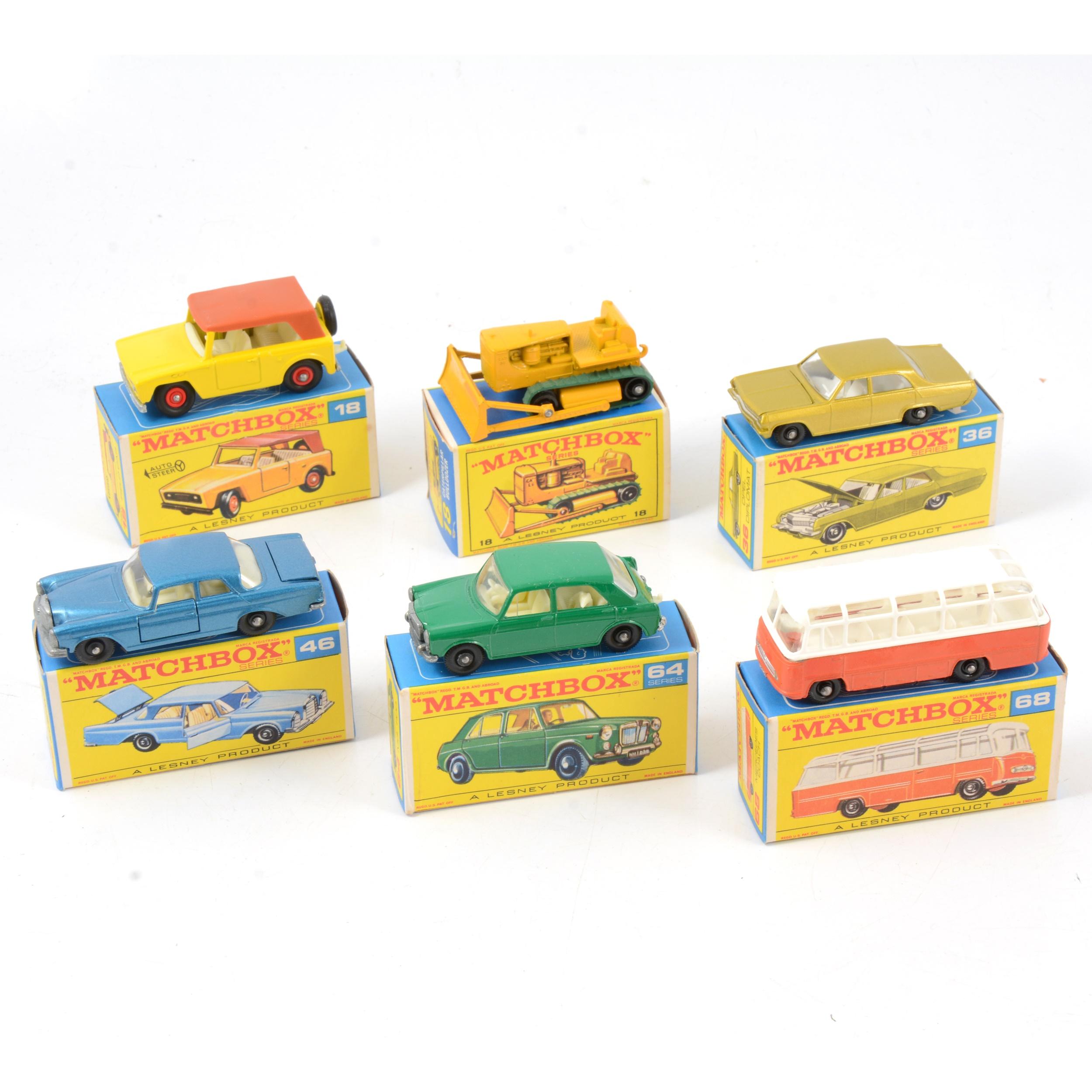 Matchbox Lesney die-cast models; six including 18 field car.