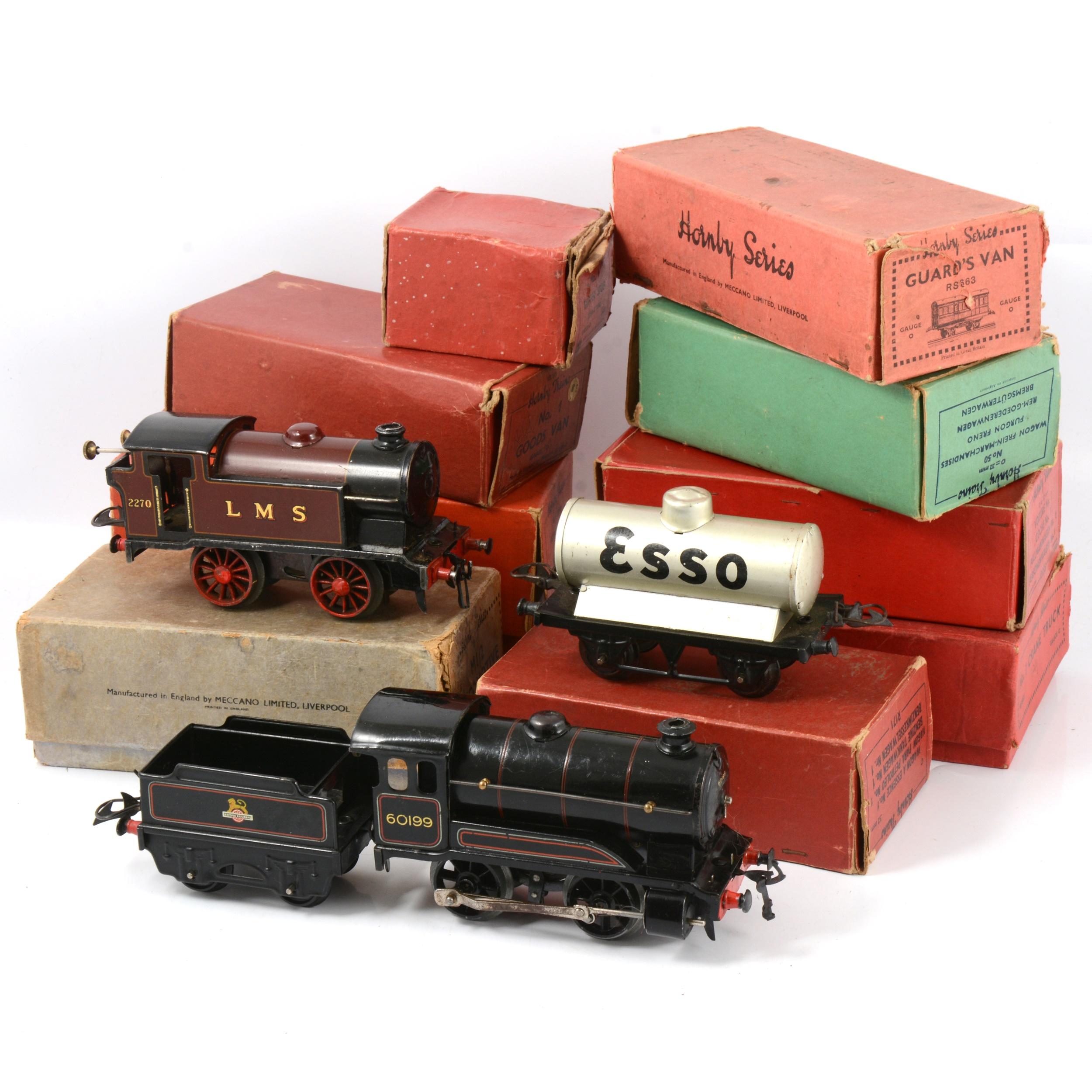 Hornby O gauge model railways; a collection to include M1/2 clockwork locomotive etc