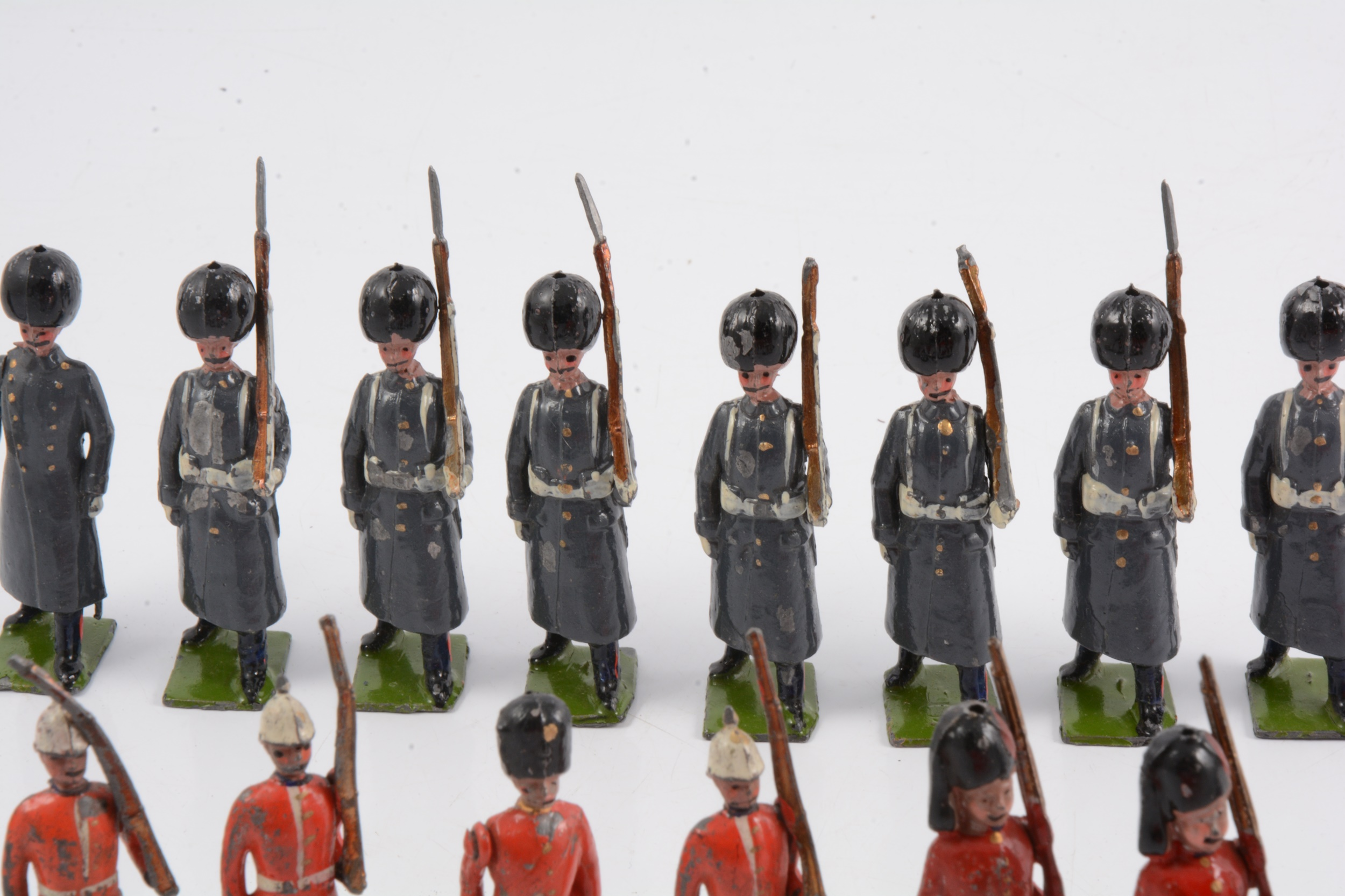 Britains lead-painted figures, including eight Grenadier Guards in greatcoats - Image 2 of 2