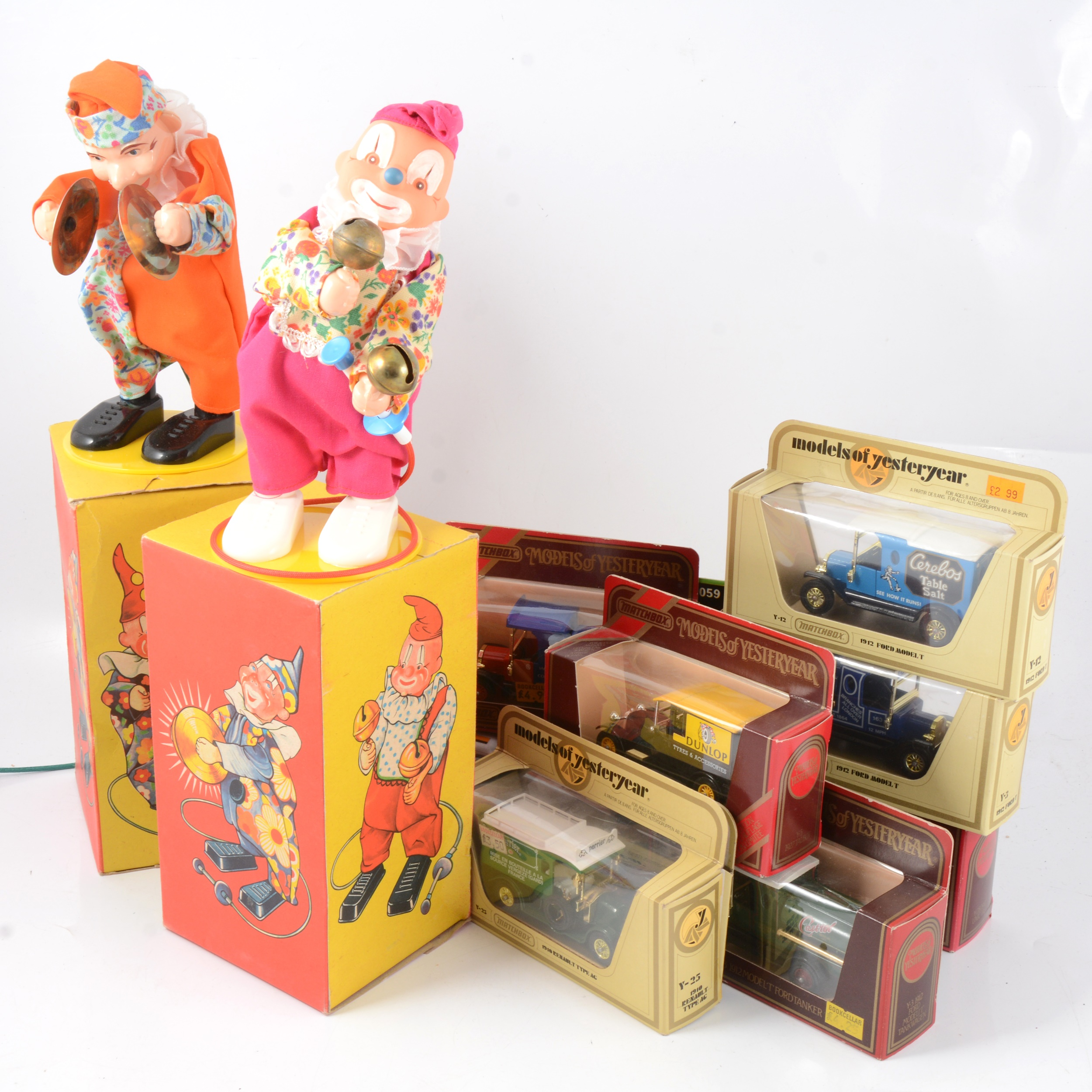 Two Sonni German wind-up clown toys etc