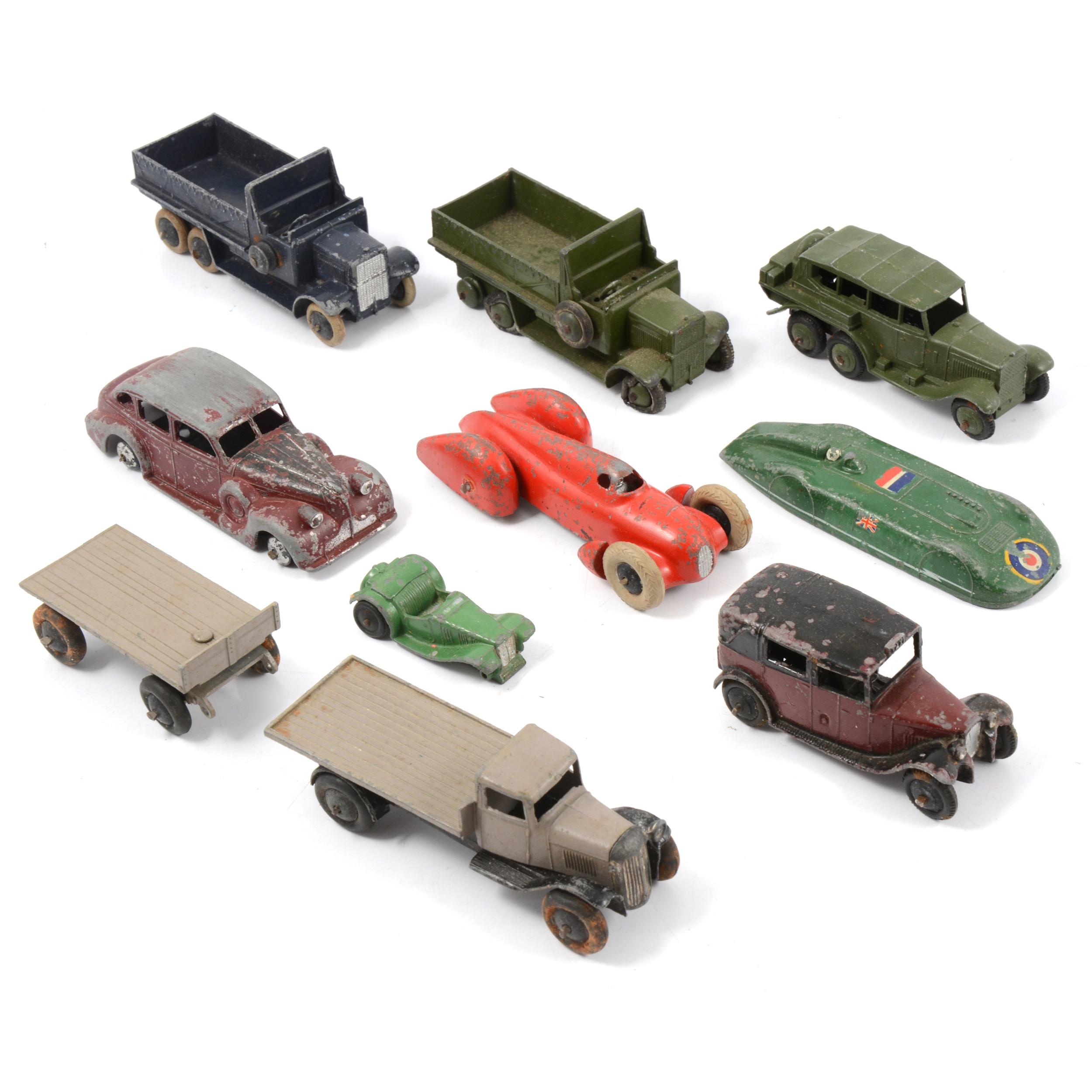 Dinky die-cast toy models; ten loose, mostly pre-war examples.