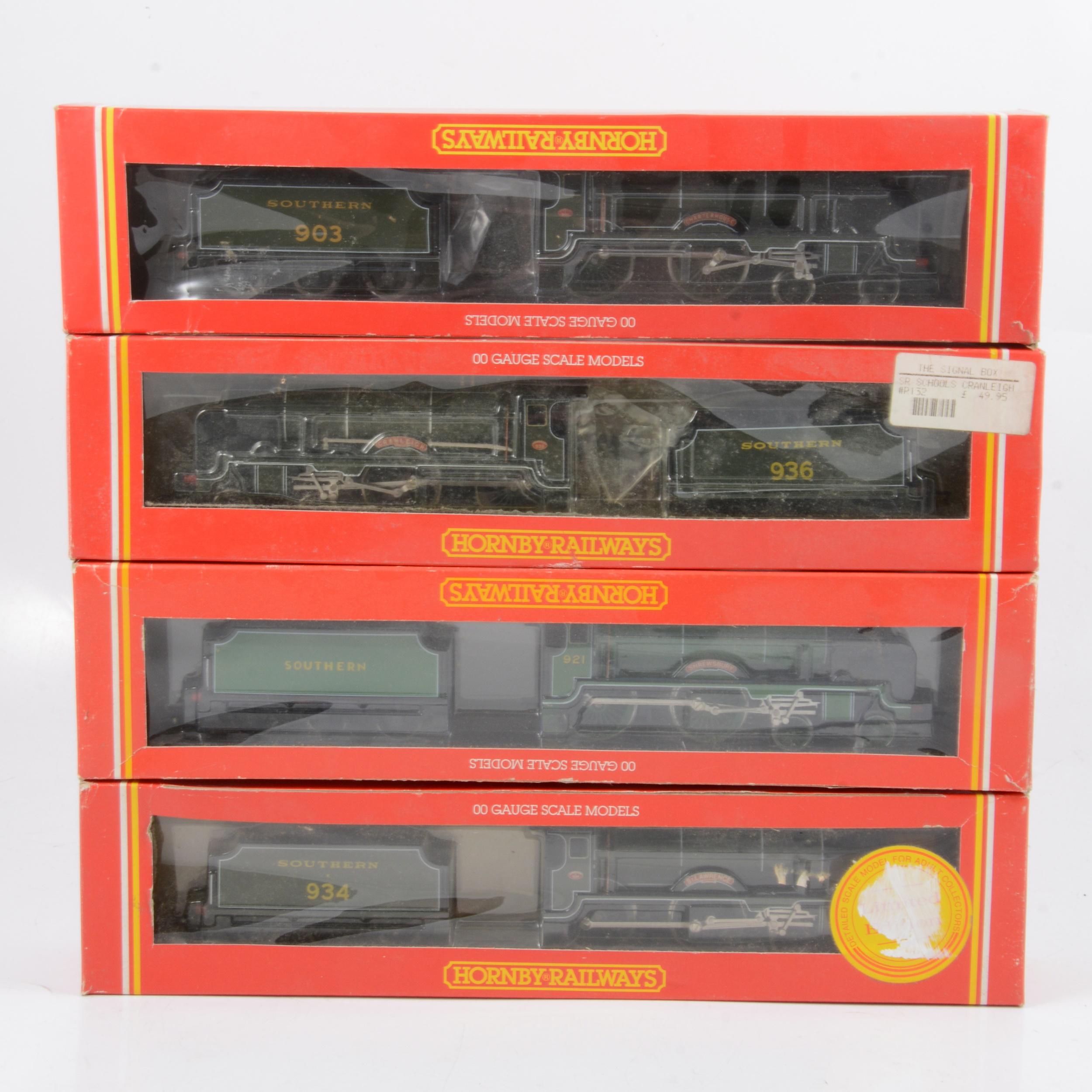 Four Hornby OO gauge model railway locomotives, R533, R583, R132, R057.