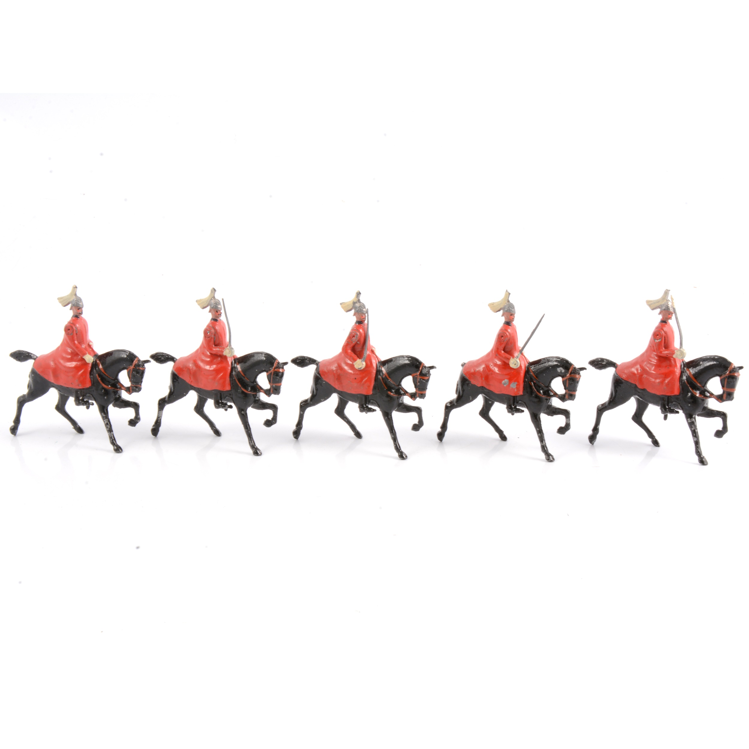 Britains lead-painted figures, Life Guards in winter coats set no.400