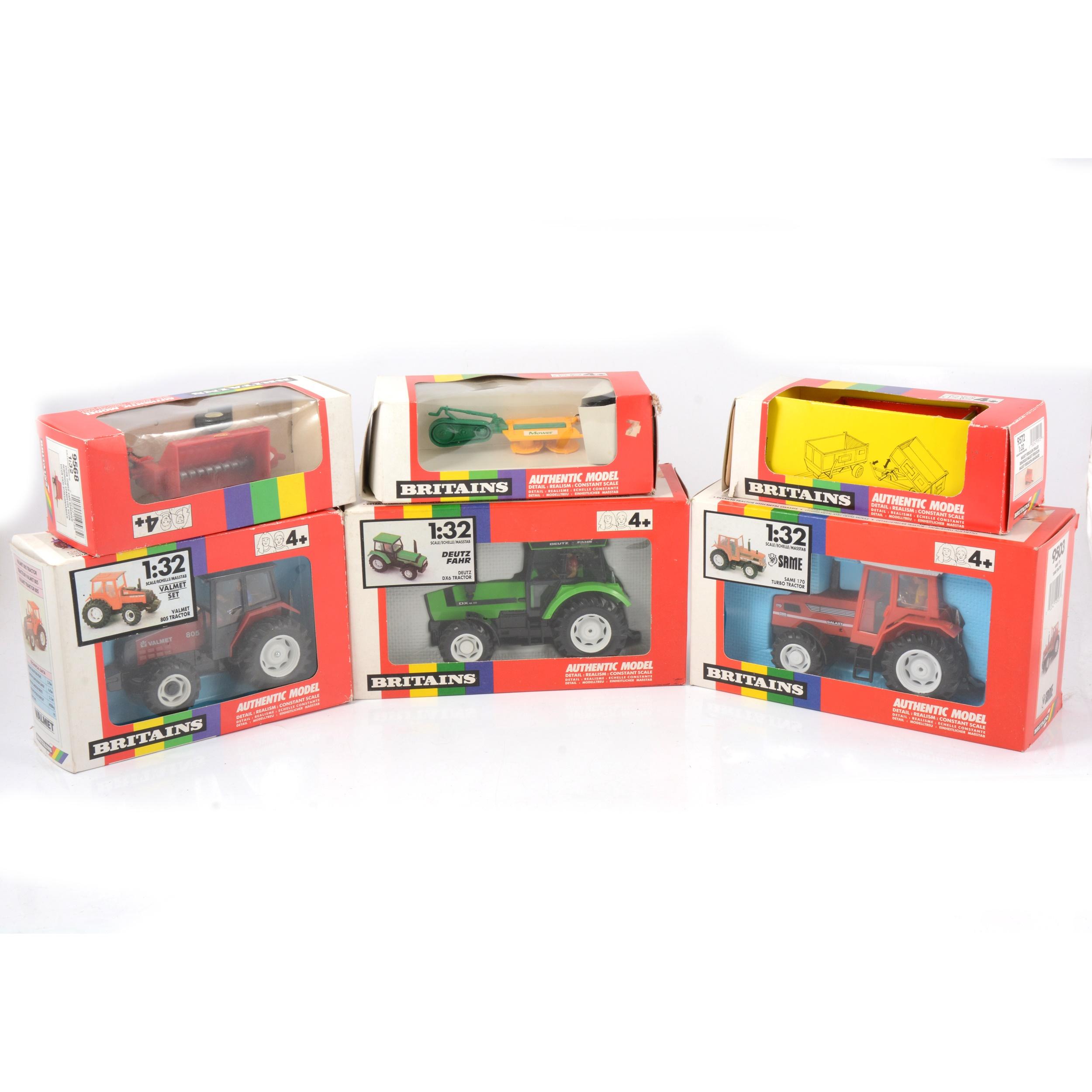 Britains farm models; six including 9515 Valmet 805 tractor etc