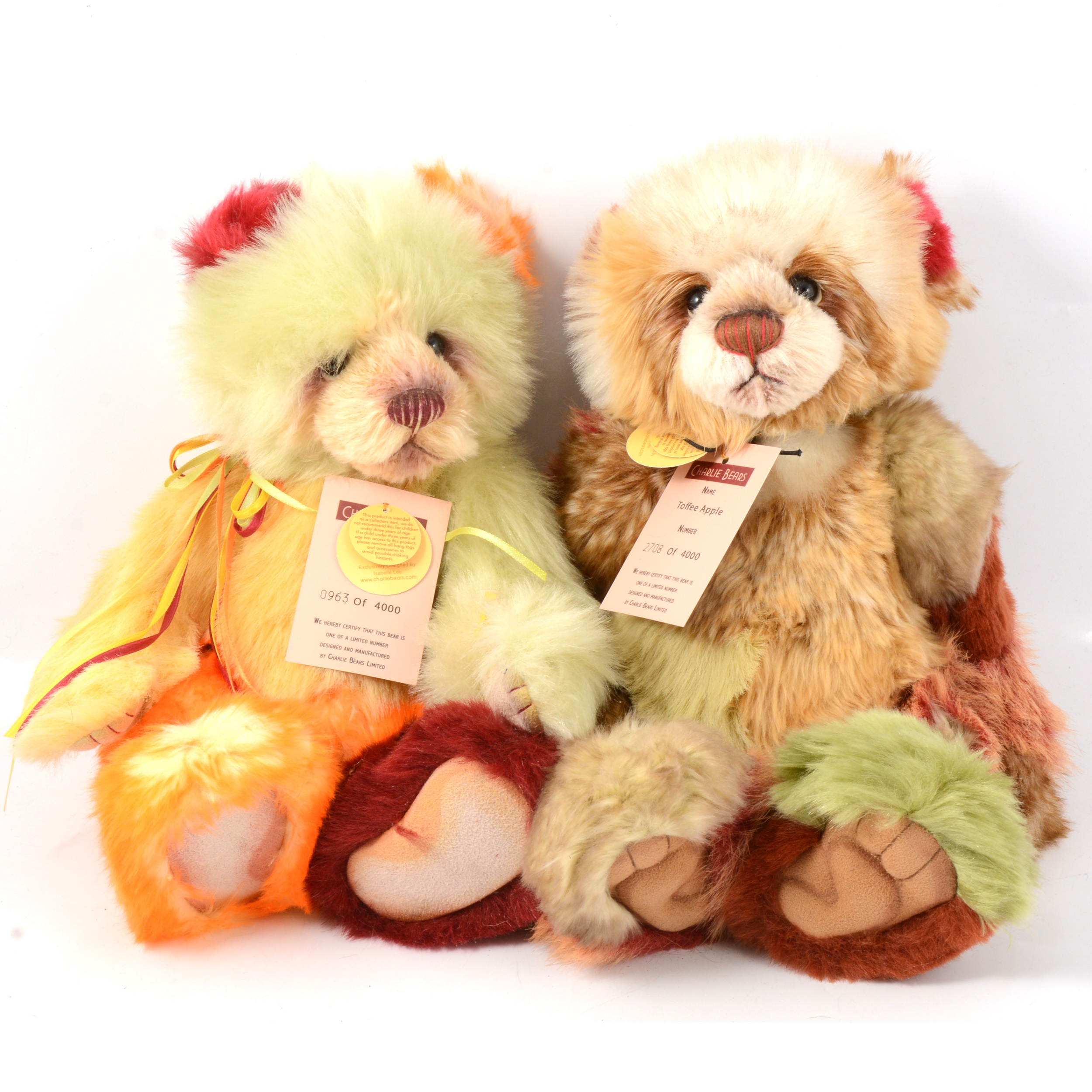 Two Charlie Teddy Bears, Toffee Apple and Ice Lolly.