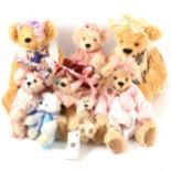Hand-made collectors teddy bears, eight mostly made by Shirley Crann.