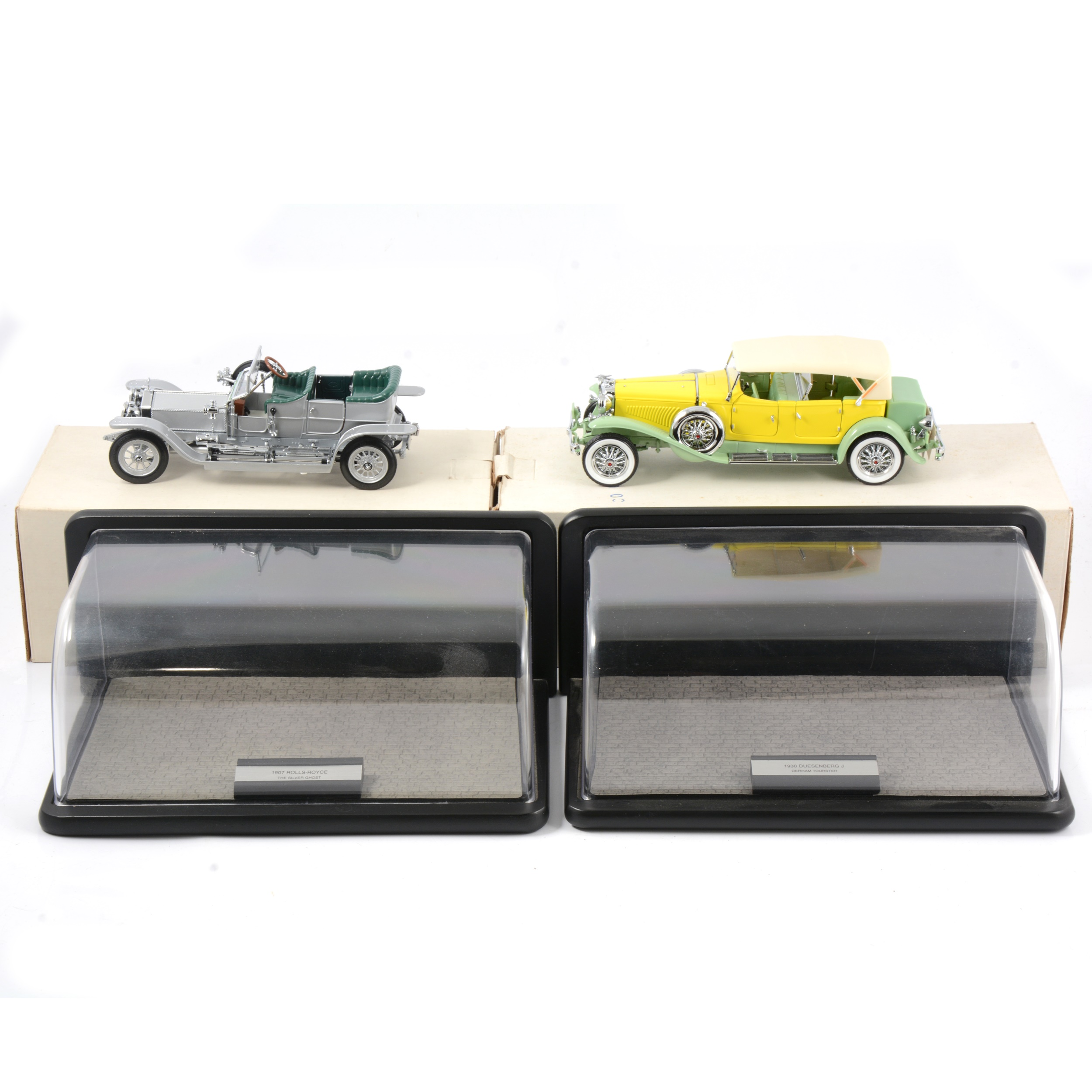 Franklin Mint 1:24 scale models, Rolls Royce The Silver Ghost and Dusenberg J