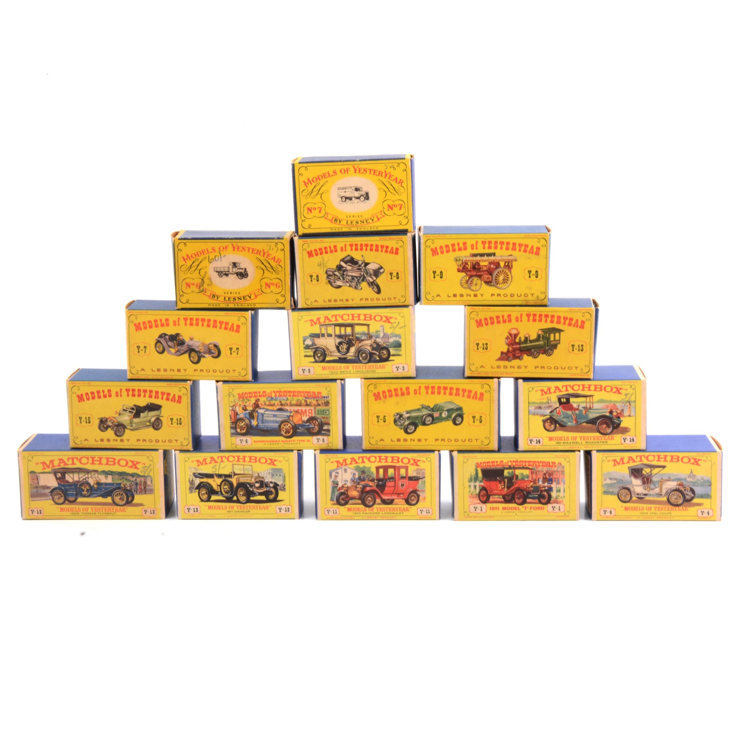 Matchbox Model of Yesteryear models, sixteen boxed models.